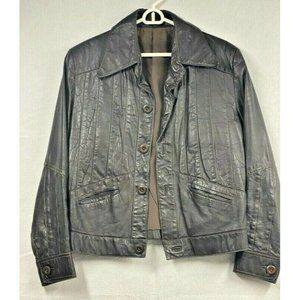 Mens Jacket Coat Brown Waist Length Button Pockets